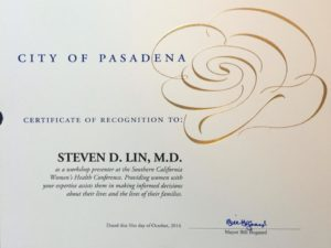 Recognition from the City of Pasadena